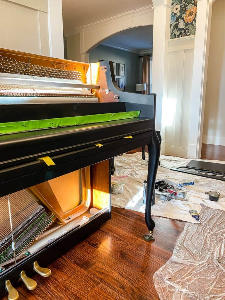 Piano with painters tape